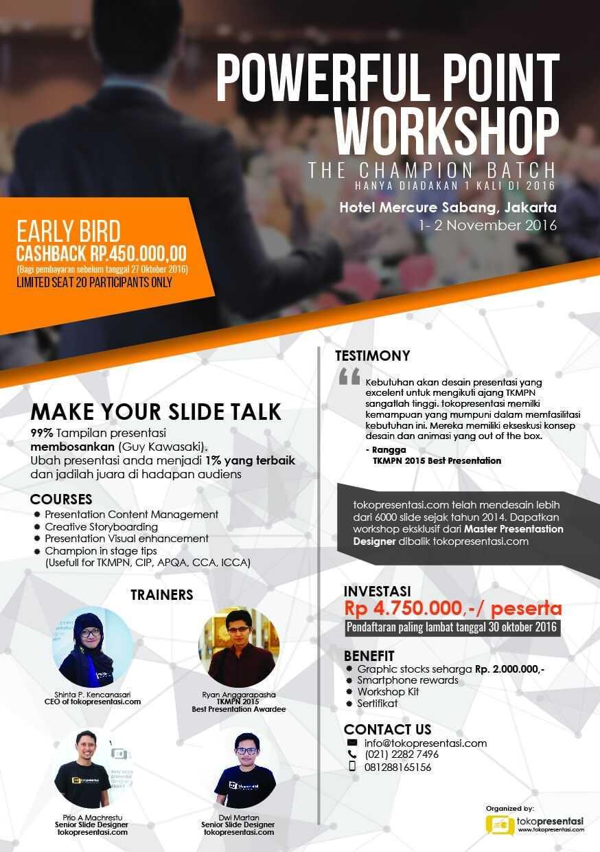 post powerfulpoint workshop the champion batch jasa desain ppt desain presentasi