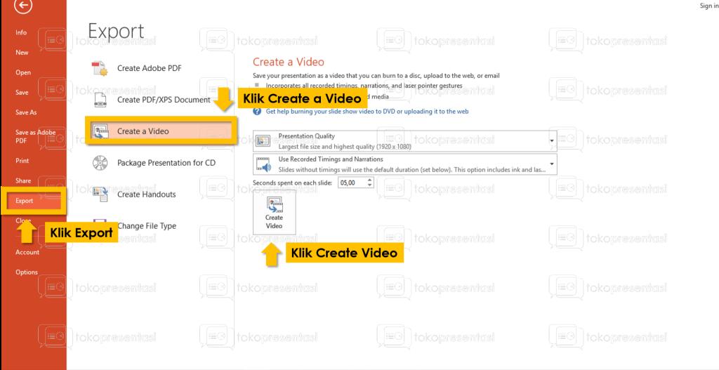 tokopresentasi.com tutorial konversi powerpoint ke video 2
