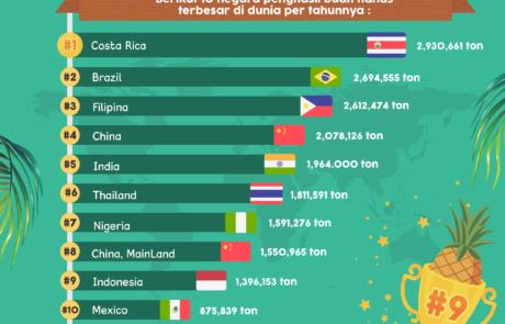 Infografis Produsen Buah Nanas Dunia - Tokopresentasi