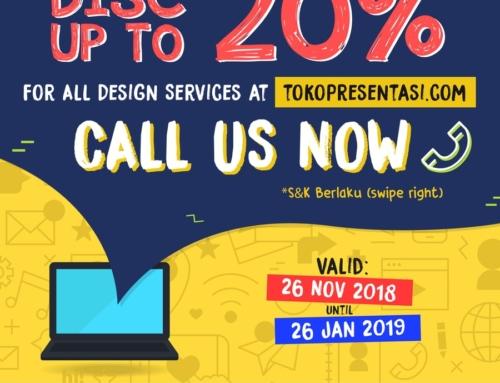 Promo Akhir Tahun, Diskon 20% Desain Slide Presentasi dan Infografis