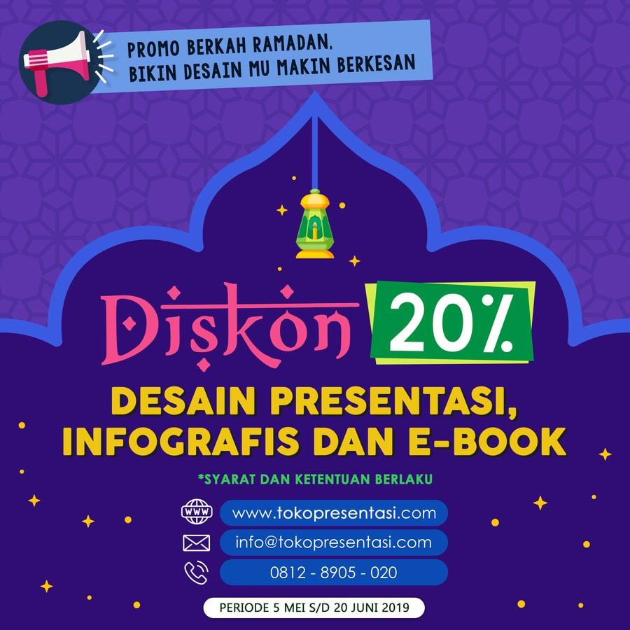 Diskon 20% Spesial Ramadan untuk Desain Presentasi, Infografis, dan Layout Buku